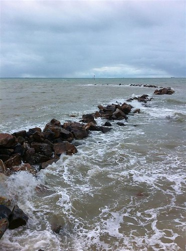 Nightcliff breakwater at high tide