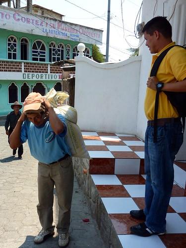 Ana Petronila's dad with corn and Mynor