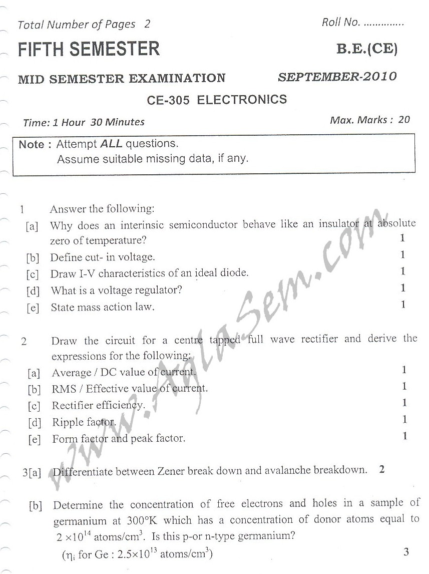 DTU Question Papers 2010 – 5 Semester - Mid Sem - CE-305