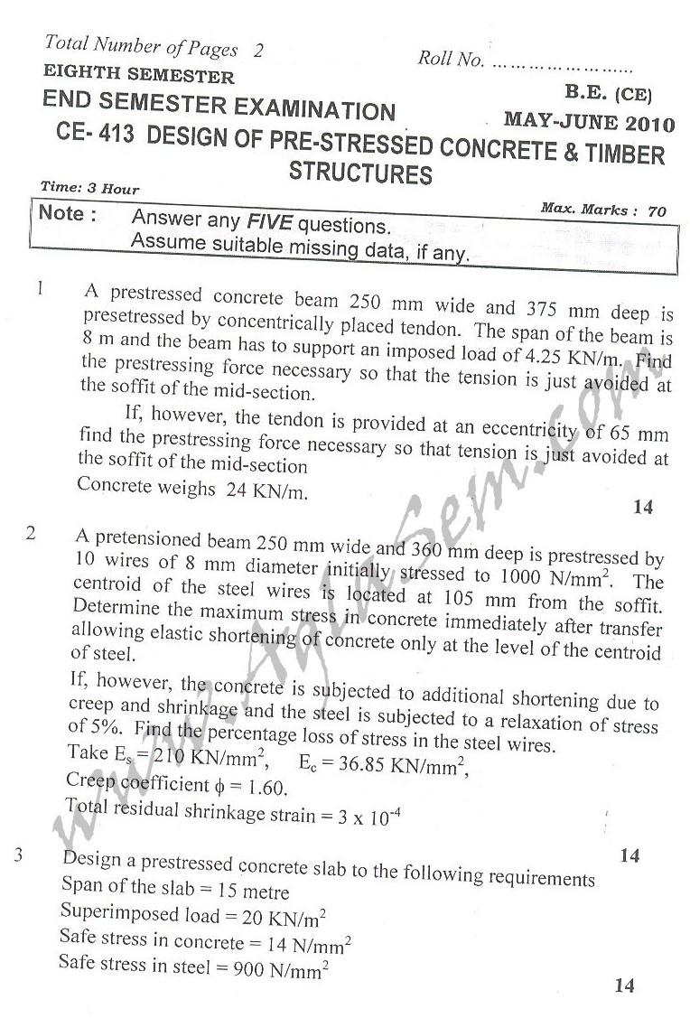 DTU Question Papers 2010 – 8 Semester - End Sem - CE-413