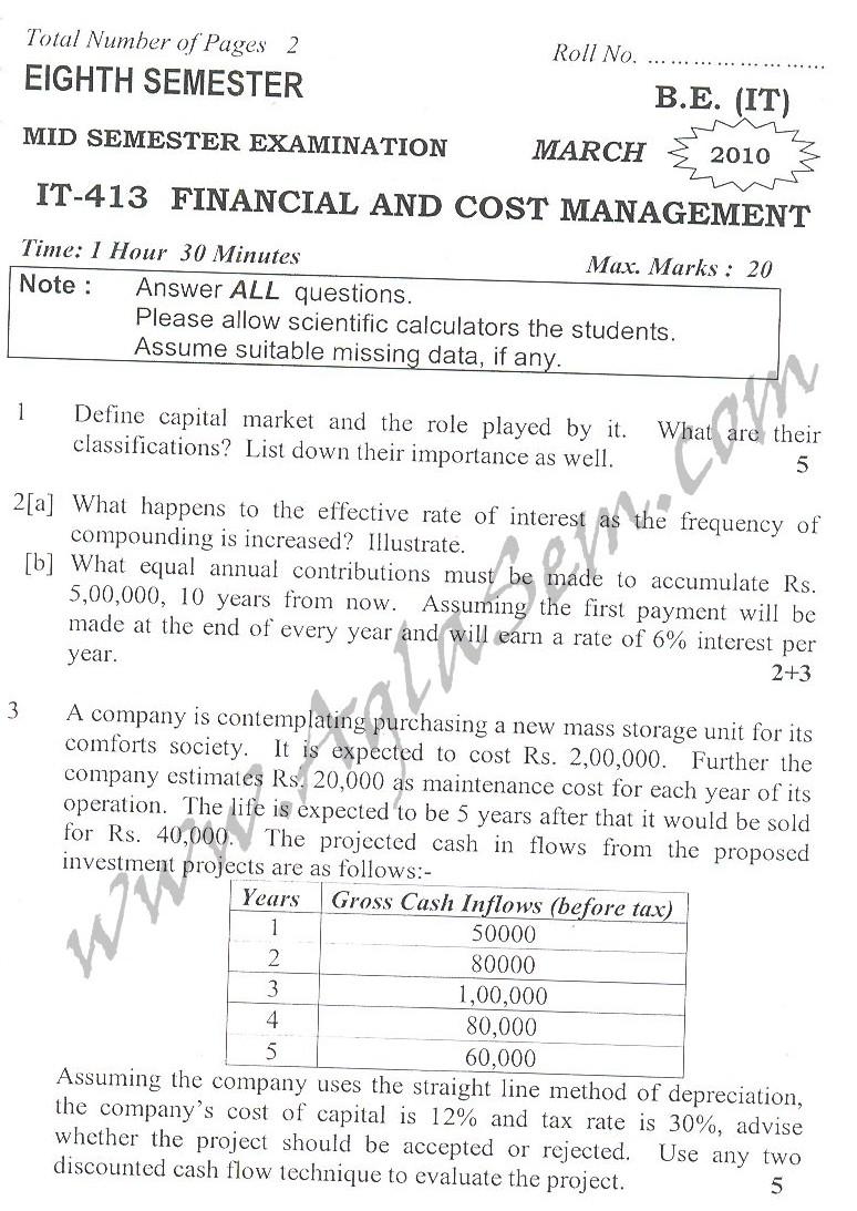 DTU Question Papers 2010 – 8 Semester - Mid Sem - IT-413