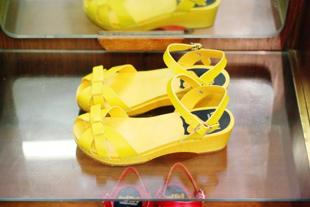 Swedish Hasbeens yellow Debutant Papillon sandal
