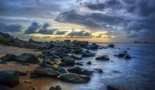 The Rocky Beach Near Dusk