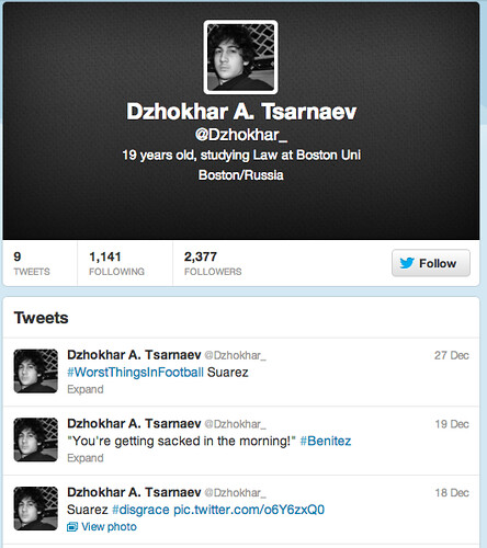 No, You Didn't Just Find Dzhokhar Tsarnaev's Secret Twitter Account