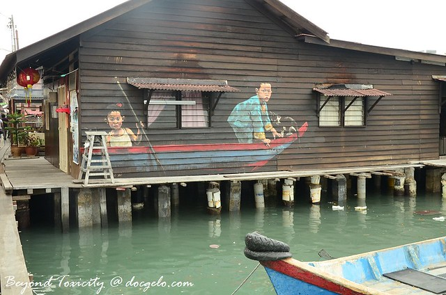 old mural at chew jetty