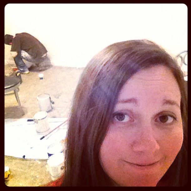 Home and exhausted after a long day of selling yarn?  Time to paint. #likeaboss #renovation