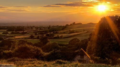 trees sunset summer england barn evening countryside hills idyllic tranquil tonemapped