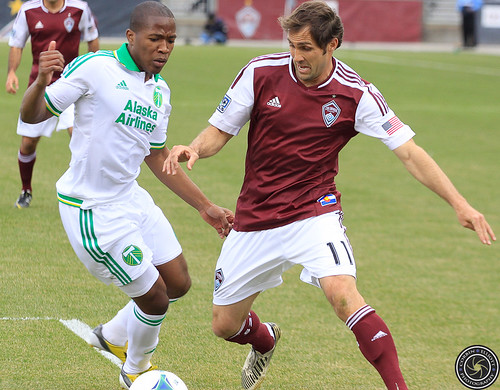 Brian Mullan (Rapids), Darlington Nagbe (Timbers), Colorado Rapids Host Portland Timbers at Dick's Sporting Goods Park Colorado by Corbin Elliott Photography