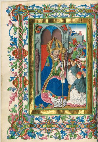016-San Virgil bendice la construccion de la catedral-Misal de Salzburgo-1499-Tomo 4-Biblioteca Estatal de Baviera (BSB)
