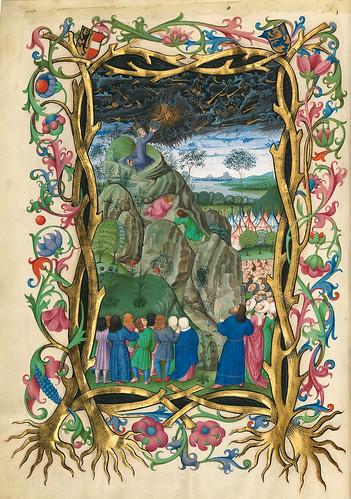009-Moises recibiendo las tablas de la Ley-Misal de Salzburgo-1499-Tomo 3-Biblioteca Estatal de Baviera (BSB)