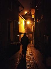 Night walk through tiny Roure #France
