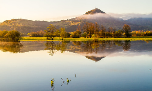 lake field sunrise slovenia slovenija karst intermittent planina