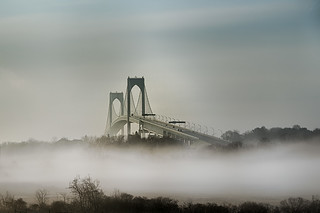 Claiborne Pell Bridge in mist, Newport RI | by tburling