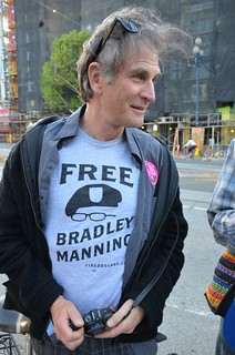 Protester sports FDL Bradley Manning t-shirt at SF Pride direct action
