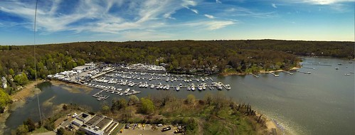 Marina at South End of Northport Harbor Panorama, NY