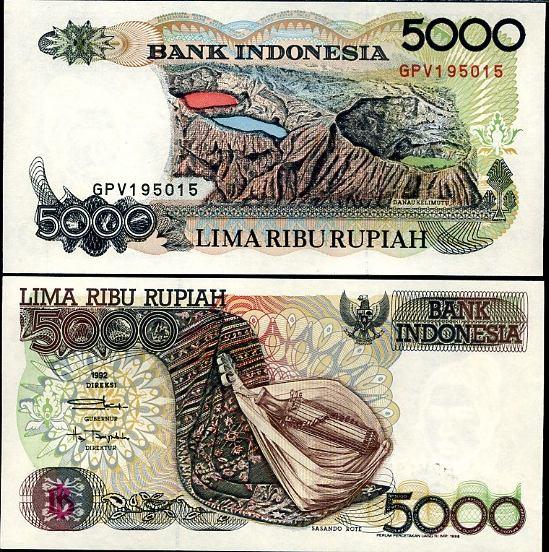 5000 Rupií Indonézia 1992, Pick 130