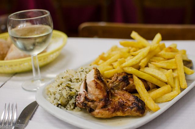 A half chicken with rice and french fries at Casa da India in Lisbon, Portugal.