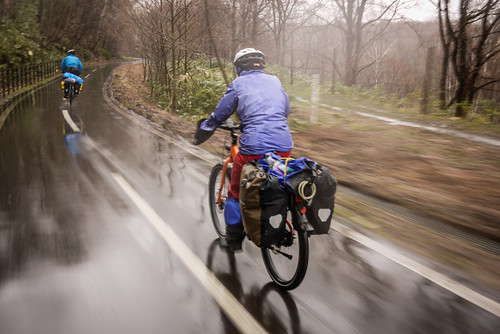 Wet downhill bicycle ride on the Elfin cycling Road (Kitahiroshima, Hokkaido, Japan)