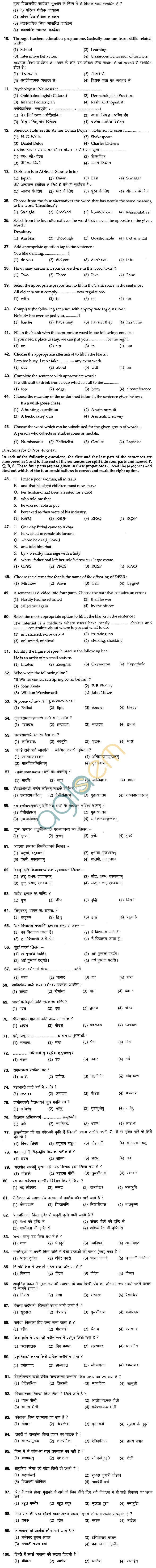 BHU UET 2012 B.Ed Language Question Paper