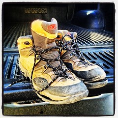Time to retire the old day hiking boots. Oh, the places we've been!