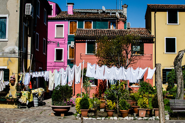 A load of whites dry in the Italian sunshine on Burano..