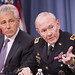 <p>Secretary of Defense Chuck Hagel, left, and Chairman of the Joint Chiefs of Staff U.S. Army Gen. Martin E. Dempsey brief the media at the Pentagon in Arlington, Va., May 17, 2013. (DoD photo by Sgt. Aaron Hostutler, U.S. Marine Corps/Released)</p>