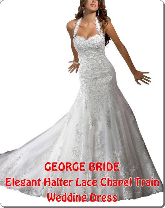 GEORGE BRIDE Elegant Halter Lace Chapel Train Wedding Dress