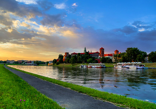 old city sunset summer sky castle water colors architecture night clouds canon buildings reflections river spring nice colours view cloudy poland polska krakow wawel sunny romantic kraków cracow hdr wisła vistula