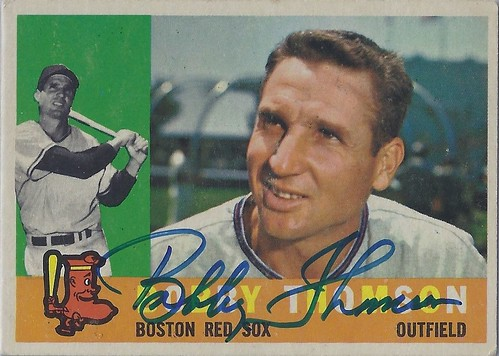 1960 Topps - Bobby Thomson #153 (Outfielder) (b: 25 Oct 1923 - d: 16 Aug 2010 at age 86) - Autographed Baseball card (Boston Red Sox)