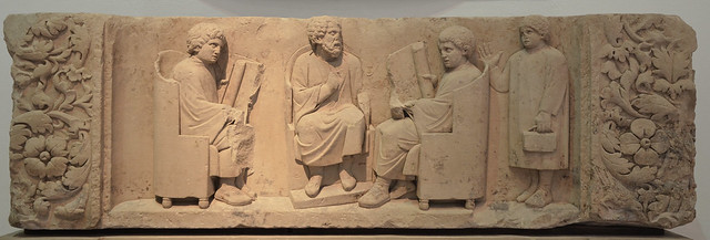 Funerary relief found in Neumagen near Trier, a teacher with three discipuli, around 180-185 AD, Rheinisches Landesmuseum Trier, Germany
