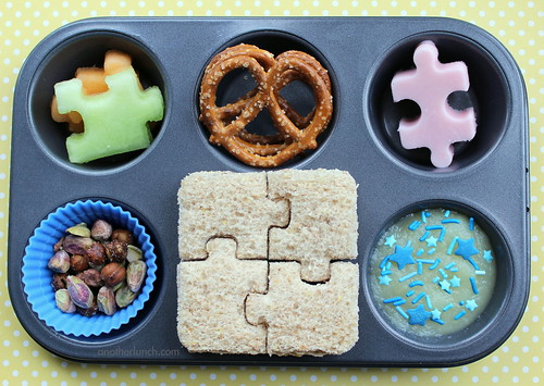 Muffin Tin Monday - puzzle time! April is Autism Awareness Month!