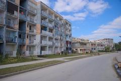 La Farmacia del reparto Virginia, modelo constructivo de edificios rusos Gran Panel, el primero de su tipo en Santa Clara. Levantado en los 70.  Cuba 2013
