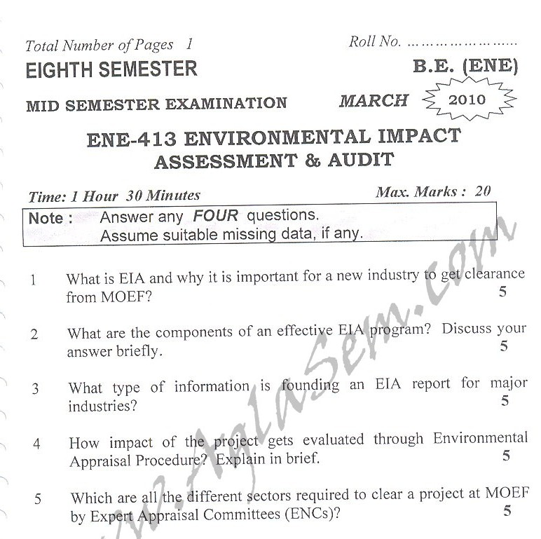 DTU Question Papers 2010 – 8 Semester - Mid Sem - ENE-413