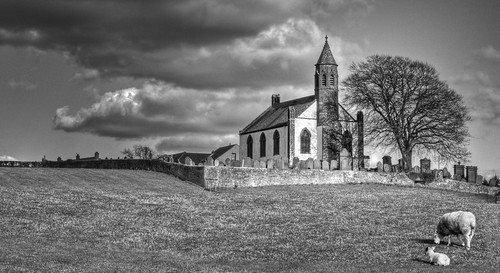 sky bw church cemetery grave rural landscape mono sheep stones scenic dramatic lamb hdr dumfries galloway mouswald