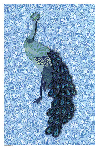 quilled peacock print