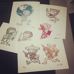 An assortment of limited edition Gocco screenprints. #gocco #dayofthedead #calaveras #diadelosmuertos #sugarskull