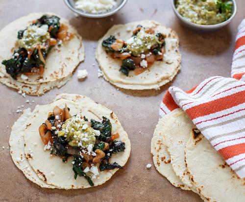 swiss chard and onion tacos