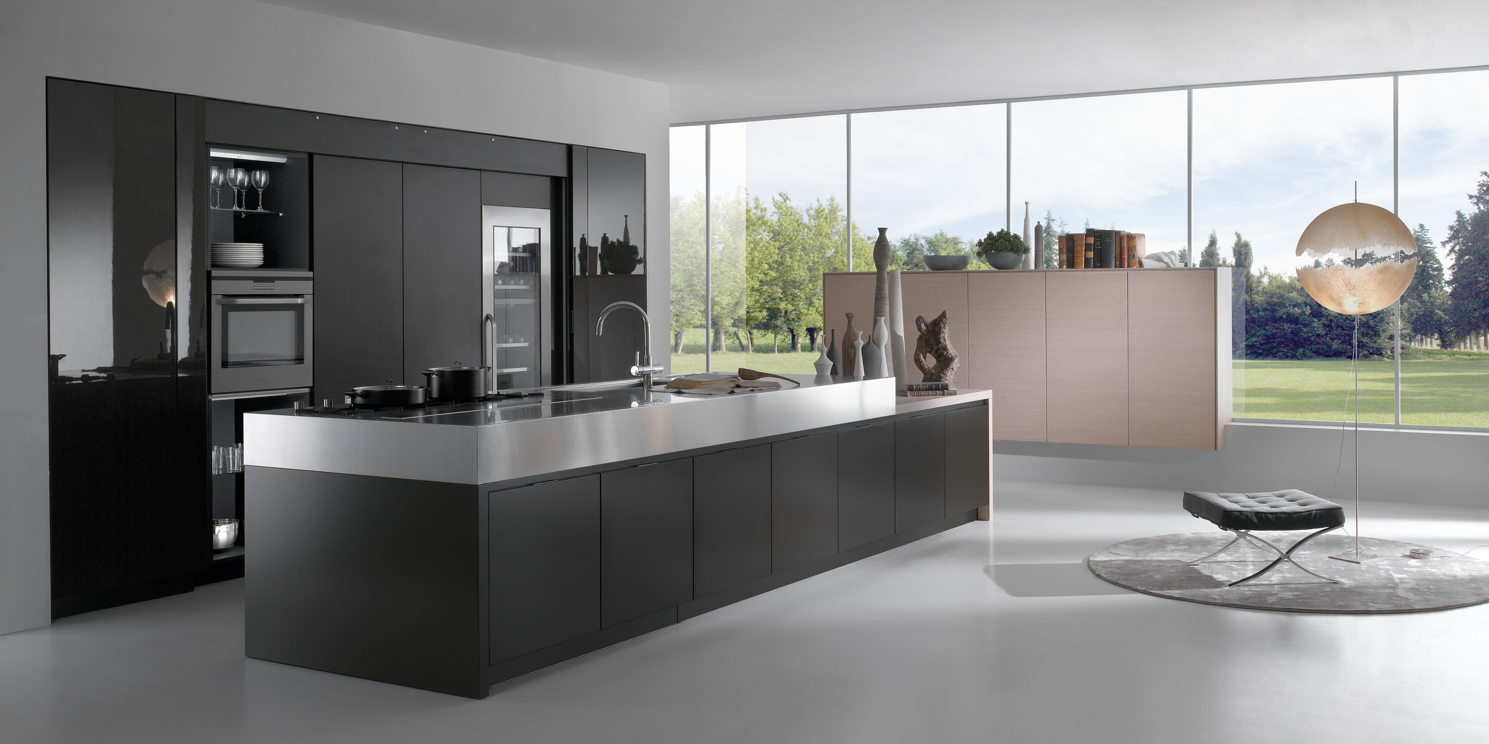 cuisine contemporaine haut de gamme avec grand ilot. Black Bedroom Furniture Sets. Home Design Ideas