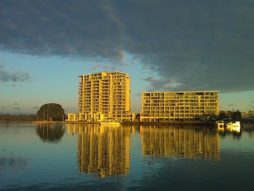 cameraphone city morning light sea urban reflection building tree water yellow sunrise boat waterfront estuary perth suburb westernaustralia mandurah htc