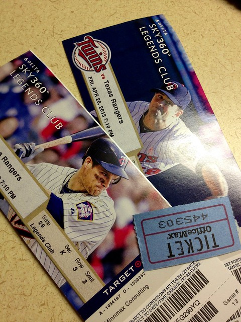 My luck lately is incredible - won free tickets to see the Twins! #project365
