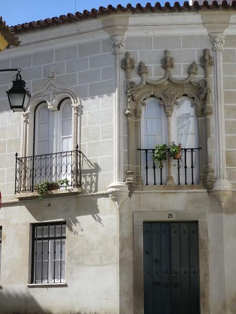 Manueline windows, Casa Soure, Evora, Portugal