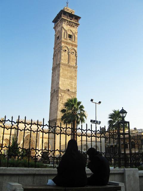 Minarete de la Mezquita omeya de Alepo (Siria)