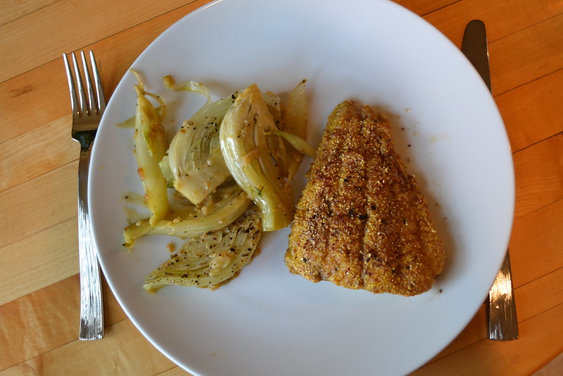 cornmeal crusted catfish and braised fennel | things i made today