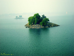 Rocky island in the lake.