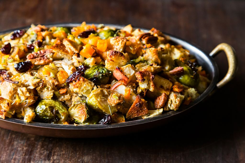 Butternut Squash, Brussels Sprouts, and Bread Stuffing with Apples