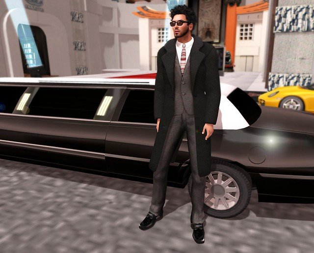*MLC*  J Dean Coat Suit Black and Gray