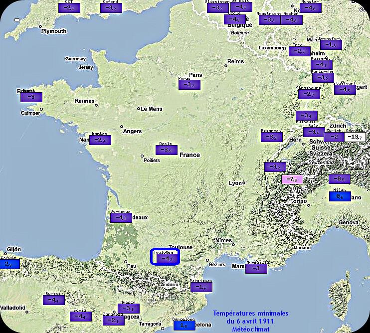 températures minimales et records de froid du 6 avril 1911 météopassion