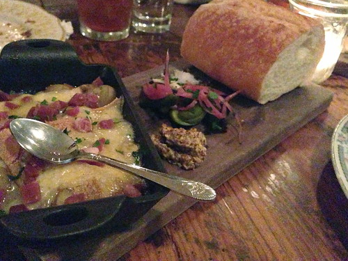 Melted raclette, butterball potatoes, cornichons, mustard and soft bread @ Hart and the Hunter