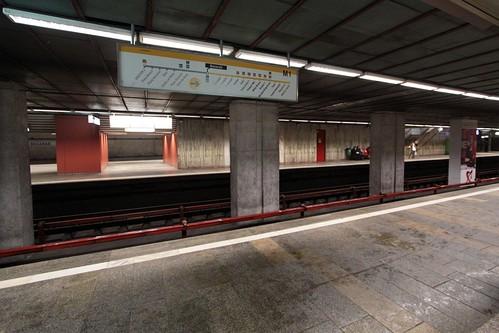 Four platforms at Basarab station on the Bucharest Metro