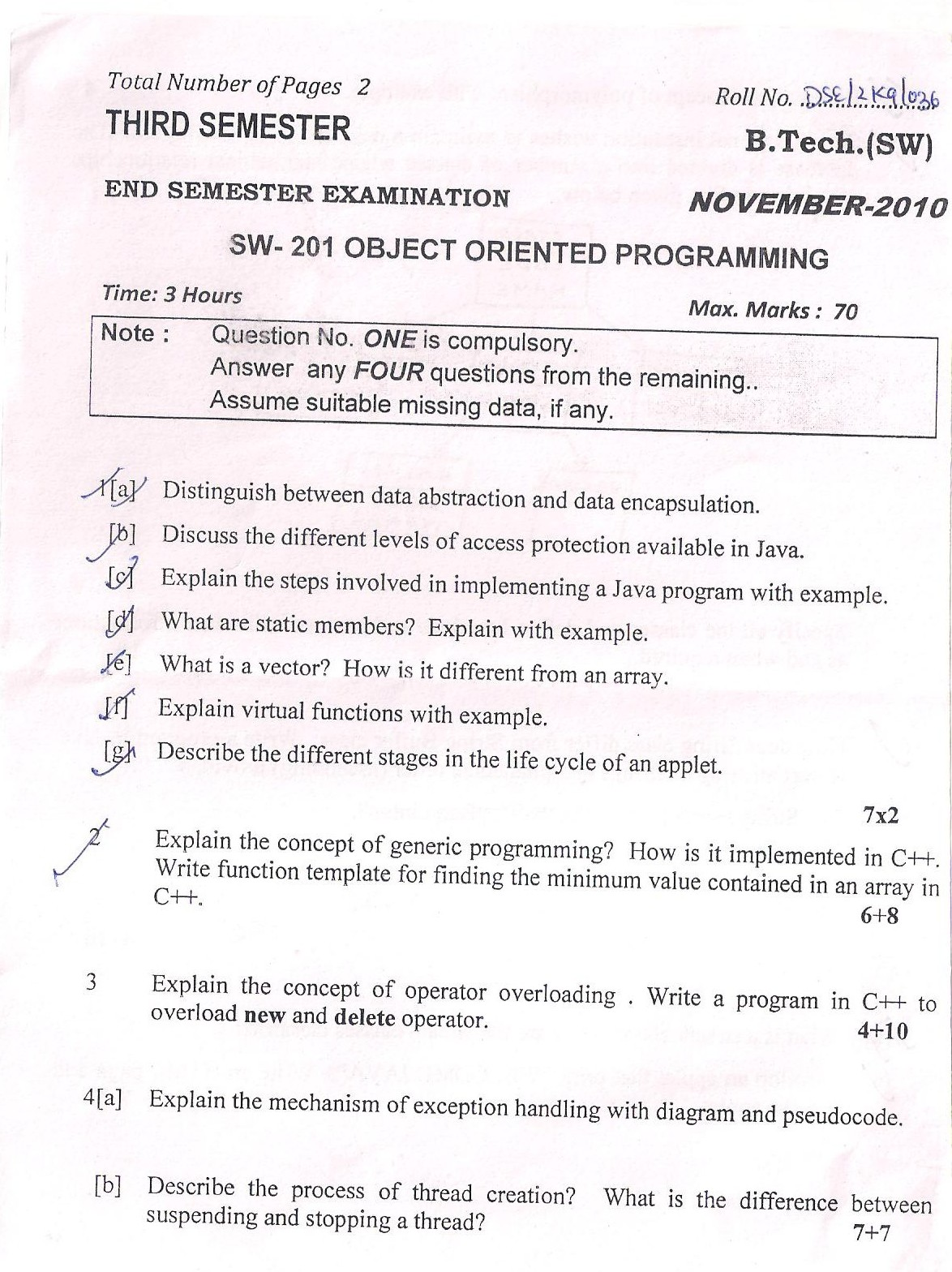 DTU Question Papers 2010 – 3 Semester - End Sem - SW-201